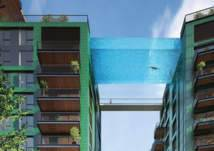 بالصور: حمام سباحة شفاف معلق بين برجين