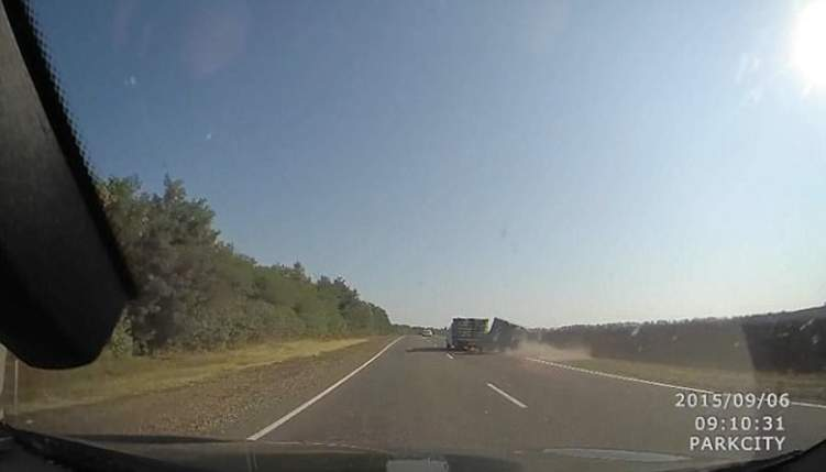 عشرات الدجاجات تتطاير في الهواء بعد انقلاب شاحنة تحملهم (فيديو)