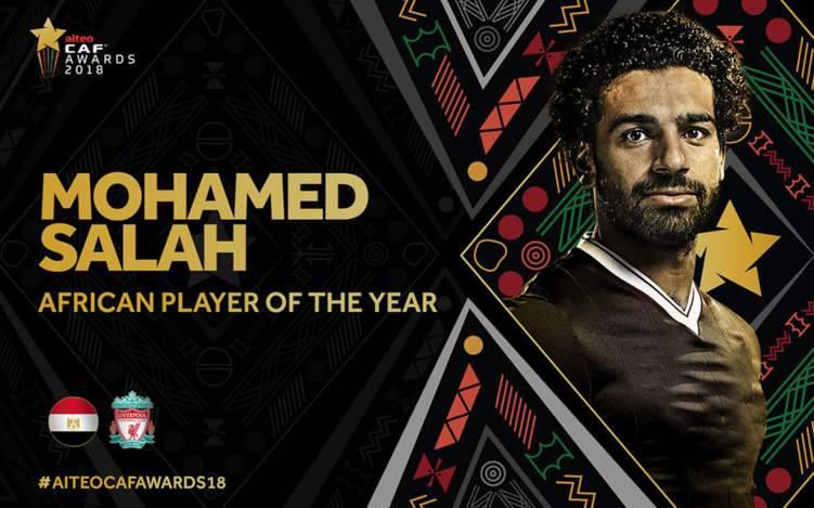 صلاح يتوج بجائزة أفضل لاعب إفريقي للعام الثاني على التوالي