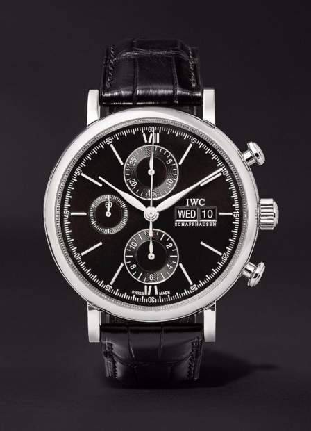 845098_IWC Portofino Chronograph Stainless Steel Black Alligator Leather....jpg