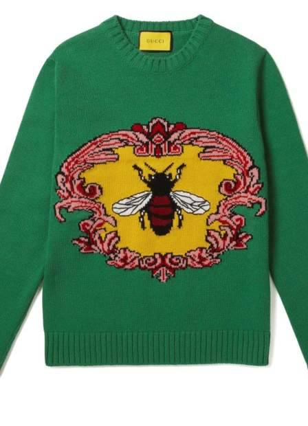 WOOL JACQUARD CREW NECK SWEATER WITH BEE.JPG