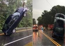 أغرب ما يمكن أن يحدث لسيارة بسبب عاصفة (فيديو)