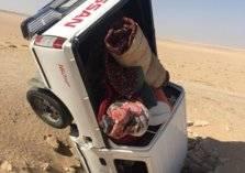 بئر مكشوفة تبتلع سيارة بها مواطن وابنه بحفر الباطن (صور)