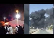 شاهد.. اندلاع حريق ضخم في العاصمة السعودية