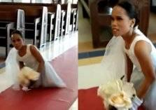 شاهد.. فتاة بدون أرجل تتخلى عن الكرسي في حفل زفافها